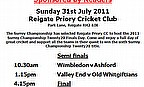 Reigate Priory To Host Surrey Championship T20 Finals Day