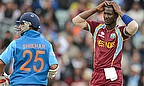 Darren Sammy looks on after Shikhar Dhawan plays a shot for India v West Indies