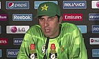 Misbah-ul-Haq addresses the media ahead of the game against India