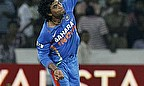 Jadeja bowls his left-arm spin for India.