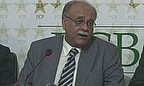 Najam Sethi talks to the press in Pakistan