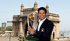 Sachin Tendulkar holding the World Cup
