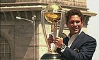 Sachin Tendulkar holds the World Cup