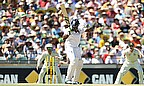 Michael Carberry was the first England batsman to go, bowled trying to leave the ball