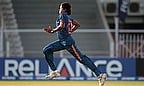 Jhulan Goswami runs in to bowl