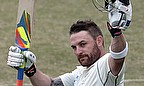 Brendon McCullum raises his bat