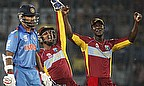 West Indies celerbate a wicket against India