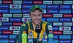AB de Villiers talks to the media following South Africa's win over England