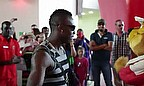 Andre Russell dances with animals at Ferrari World