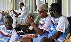 Sir Curtly Ambrose (far right) and Sir Garry Sobers (second right) are working with the West Indies squad in Barbados