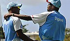 Ambrose, who will be with the squad for the Tests and Twenty20 Internationals, offers guidance to Shannon Gabriel