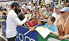 Moeen Ali signs autographs at The Ageas Bowl
