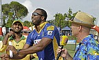 Kieron Pollard (centre) lifted the Caribbean Premier League trophy after the Barbados Tridents won the final