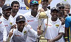 Rangana Herath celebrates with his team-mates