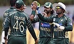 Pakistan players celebrate a wicket against Sri Lanka