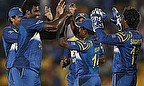 Thisara Perera celebrates the wicket of Wahab Riaz