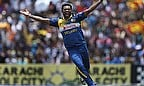 Seekkuge Prasanna celebrates the wicket of Shahid Afridi