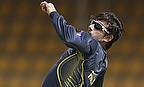 Saeed Ajmal bowls in training