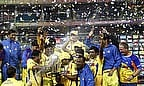 Chennai Super Kings celebrate winning the Champions League T20