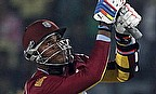 Marlon Samuels hits out during the ICC WT20