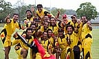 Papua New Guinea celebrate winning the 2014 ICC EAP Trophy