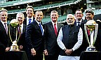 Former players along with Indian PM Narendra Modi and Australian PM Tony Abbott