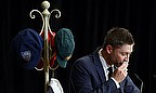 Michael Clarke pauses as he delivers an eulogy to Phil Hughes