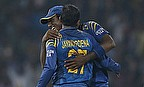 Mahela Jayawardene and Angelo Mathews celebrate