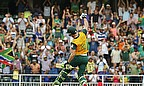 Faf du Plessis celebrates his century, but he would end up on the losing side