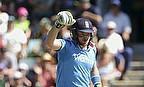 Ian Bell celebrates reaching his century in Hobart