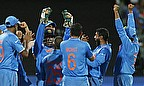 India celebrate a wicket against Pakistan