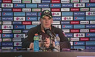 Aaron Finch talks to the media following Australia's win over Bangladesh