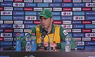 Faf du Plessis talks to the press following South Africa's defeat to India