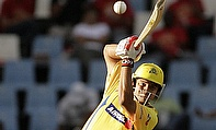 Suresh Raina hits a shot
