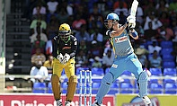 Kevin Pietersen hits out during his CPL debut for the St Lucia Zouks