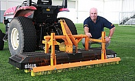 Alan Ferguson, Head Groundsman at St George's Park, has chosen a SISIS Osca tractor mounted oscillating brush for use on their indoor and outdoor synt