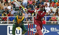 Chris Gayle thumped 90 in 41 balls to lead the West Indies towards victory