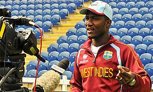 Darren Sammy talks to the press