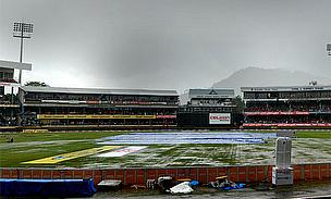 A wet Port of Spain pitch