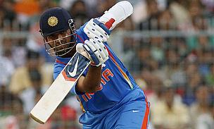 Rahane plays a shot