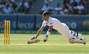 England's Kevin Pietersen dives to avoid being run out
