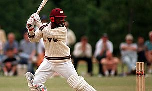 Brian Lara hits a shot
