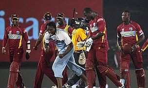 West Indies celebrate their win against Australia