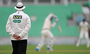 The new deal saw umpires wearing Specsavers branding as the LV= County Championship got underway