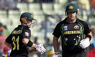 David Warner (left) and Aaron Finch put on 128 together to set up a winning score for the Sunrisers