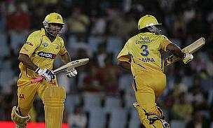 MS Dhoni (left) hit the winning runs as the Chennai Super Kings registered their fourth straight win