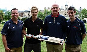 Joe Root presents the new Help for Heroes bat to H4H Ambassador and Band of Brothers member Mark Taylor, with Paul Redfarn (l) and Merrick Fuller (r),