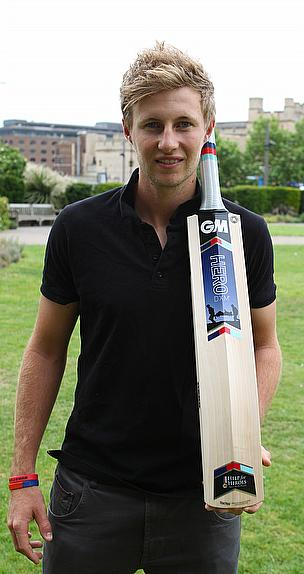 Joe Root presents the new Help for Heroes bat