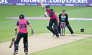 Action from the Middlesex-Surrey match at the Kia Oval
