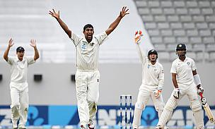 Ish Sodhi (second left) took five wickets on day two
